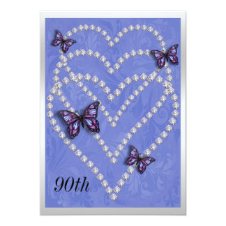 Diamond Hearts & Butterflies 90th Birthday Card