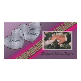 Diamond Hearts Lavender and Pink Personalized Photo Card