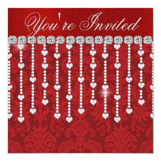 """DIAMOND HEARTS  MULTI PURPOSE Invitation 5.25"""" Square Invitation Card"""