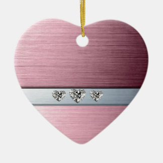 diamond hearts on light pink silvery background christmas ornament