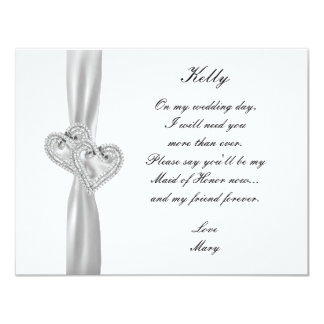 Diamond Hearts White Wedding Maid Of Honor Card