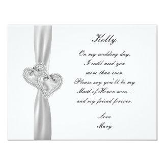 Diamond Hearts White Wedding Maid Of Honor Card 11 Cm X 14 Cm Invitation Card