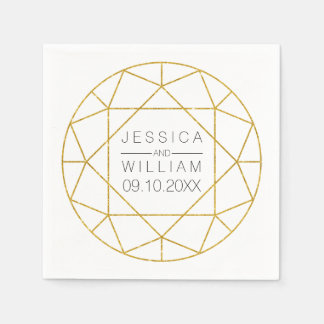 Diamond jewel geometric gold glitter wedding paper serviettes