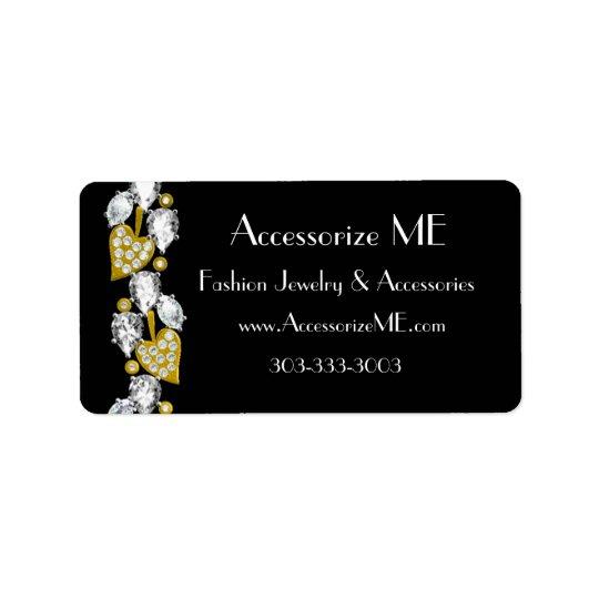 Diamond jewellery-black address label
