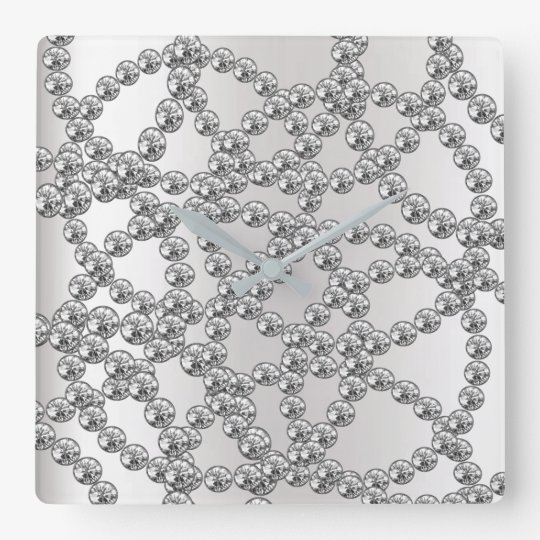 Diamond Jewelry Gray Silver Graphite Metallic Square Wall