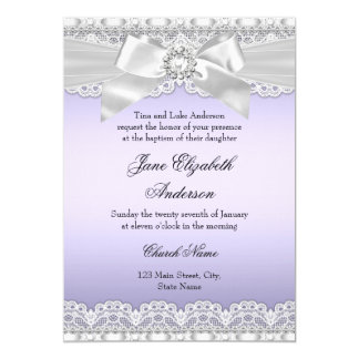 Diamond Lace & Bow Purple Baptism Invite