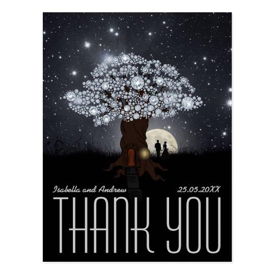 Diamond Love Tree - Wedding Thank You Postcard