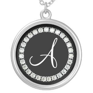 Diamond monogram A Round Pendant Necklace