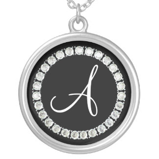 Diamond monogram A Silver Plated Necklace