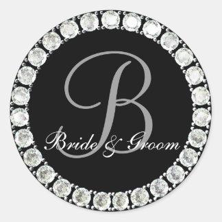 Diamond monogram B customizable seal Round Sticker