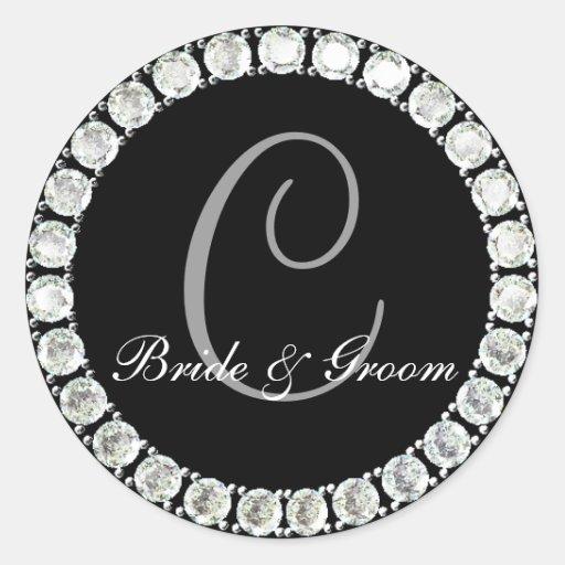 Diamond monogram C customizable seal Round Sticker
