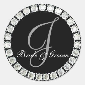 Diamond monogram J customizable seal Round Sticker