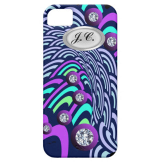 Diamond Navy Turquoise Green Twist Circles Pattern Barely There iPhone 5 Case