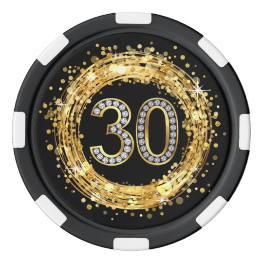 Diamond Number 30 Glitter Bling Confetti | gold