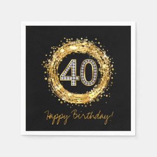 Diamond Number 40 Glitter Bling Confetti | gold Disposable Napkin