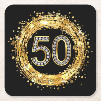 Diamond Number 50 Glitter Bling Confetti | gold Square Paper Coaster