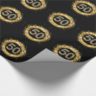 Diamond Number 50 Glitter Bling Confetti | gold Wrapping Paper