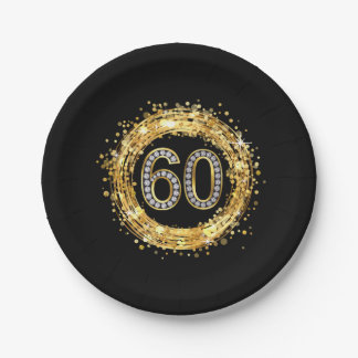 Diamond Number 60 Glitter Bling Confetti | gold 7 Inch Paper Plate