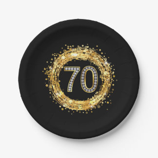 Diamond Number 70 Glitter Bling Confetti | gold Paper Plate