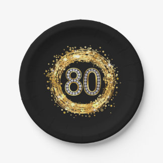 Diamond Number 80 Glitter Bling Confetti | gold 7 Inch Paper Plate