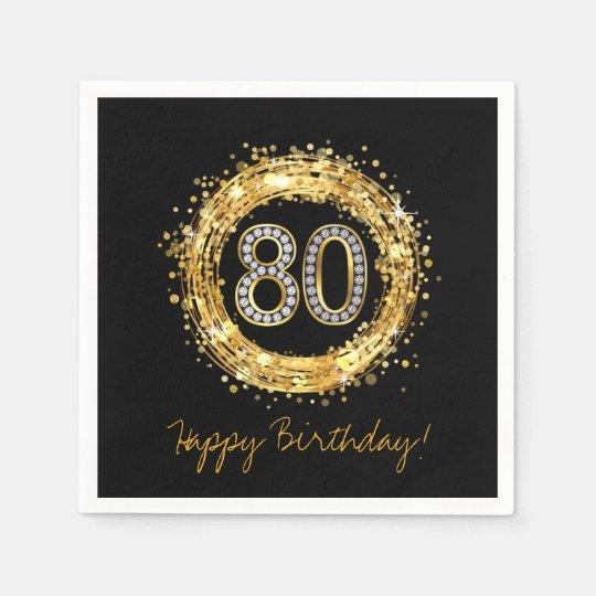 Diamond Number 80 Glitter Bling Confetti | gold