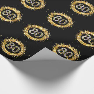 Diamond Number 80 Glitter Bling Confetti | gold Wrapping Paper