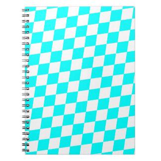 DIAMOND PATTERN in Aqua ~ Spiral Notebook