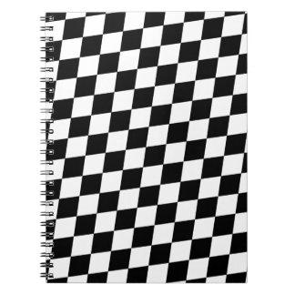 DIAMOND PATTERN in BLACK Spiral Note Book