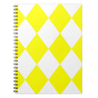 DIAMOND PATTERN in Bright Yellow ~ Spiral Note Books