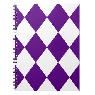 DIAMOND PATTERN in Deep Purple Spiral Notebook