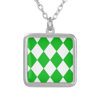 DIAMOND PATTERN in GREEN GREEN ~ Square Pendant Necklace