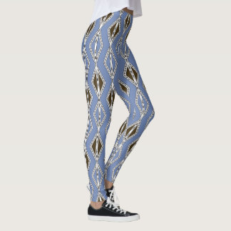 Diamond pattern on blue background Leggings
