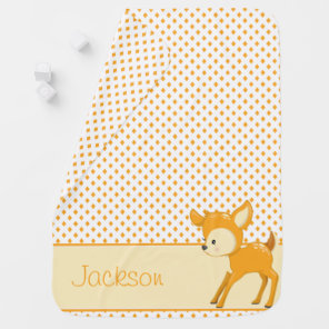 Diamond Pattern with Baby Fox | Personalised Baby Blanket