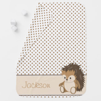 Diamond Pattern with Hedgehog | Personalized Baby Blanket
