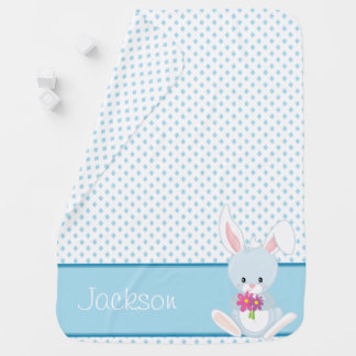 Diamond Pattern with Rabbit | Personalized Baby Blankets