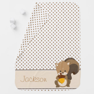 Diamond Pattern with Squirrel | Personalized Baby Blankets