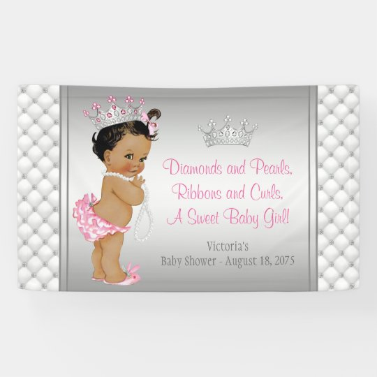 Diamond Pearl Ethnic Princess Baby Shower Banner