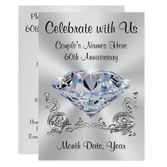 Diamond Personalised 60th Anniversary Invitations