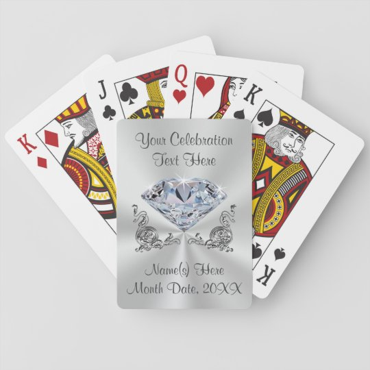 Diamond Personalised Wedding Gifts for Guests Playing Cards