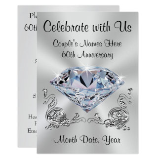 Diamond Personalized 60th Anniversary Invitations