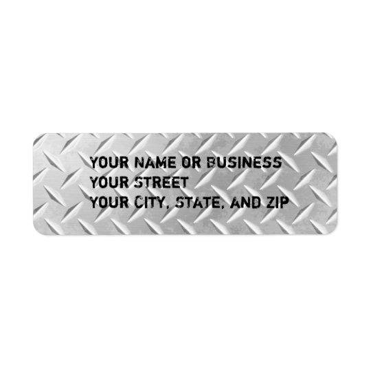 Diamond Plate Metal Pattern Return Address Labels
