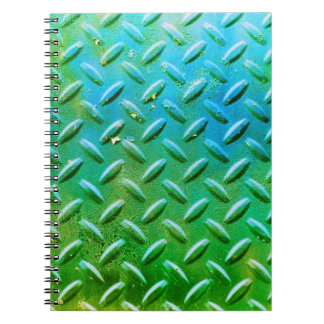 Diamond Plate Steel distressed Grunge green Notebooks
