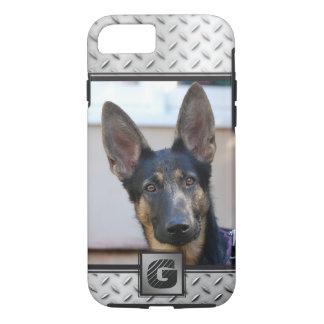 Diamond Plate Steel, Monogrammed w/ Photo iPhone 8/7 Case