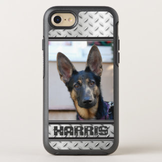 Diamond Plate Steel with Photo and Name OtterBox Symmetry iPhone 8/7 Case