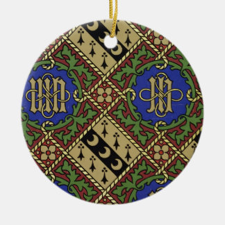 Diamond print ecclesiastical wallpaper design christmas ornament