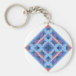 Diamond Quilt in Blue and Purple Keychains