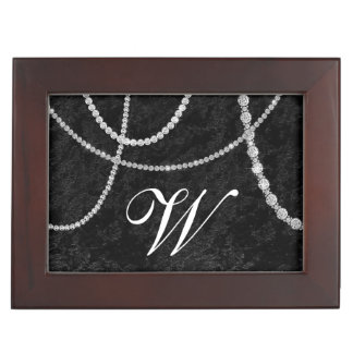Diamond Rhinestone Black Velvet Keepsake Box