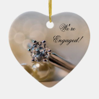 Diamond Ring and Pearls Engagement Christmas Ornament