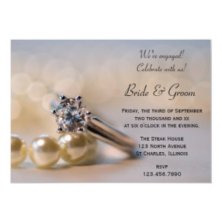 Diamond Ring and Pearls Engagement Party Invite