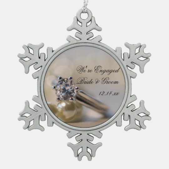 Diamond Ring and Pearls Engagement Snowflake Pewter Christmas